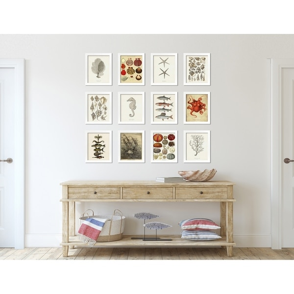 Coastal Print and Design Vintage Beach House Art Set