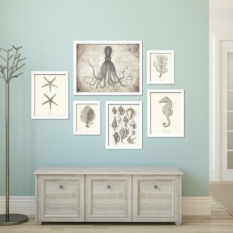 Coastal Beach House Artwork Framed Gallery Wall Set