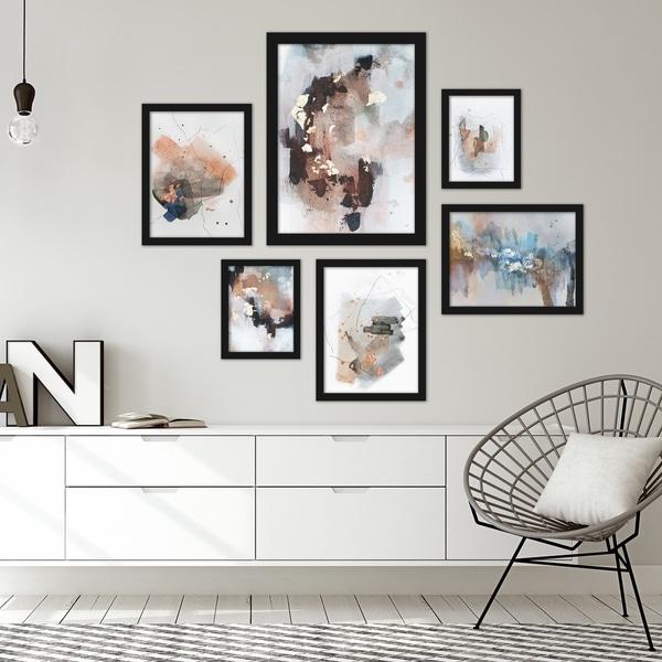 Contemporary Abstract Blush Tones Framed Art Set