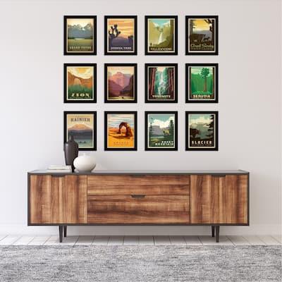 National Parks Anderson Design- 12 Piece Framed Gallery Wall Art Set