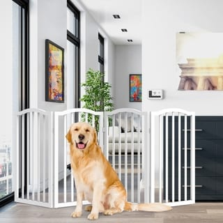 Link to 4 Panel Freestanding Scalloped Top Pet Gate by PETMAKER Similar Items in Child Safety