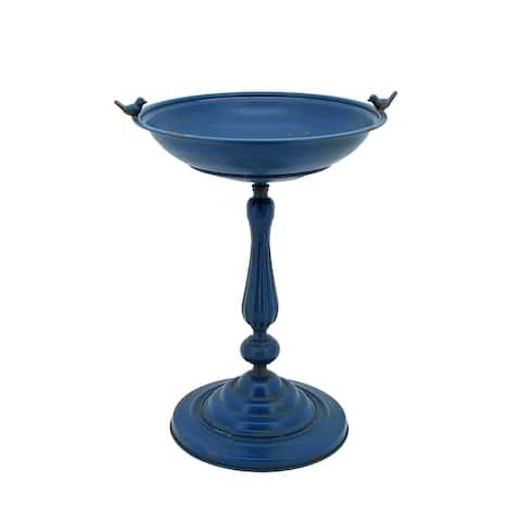 Round Pedestal Birdbath with Bird Details