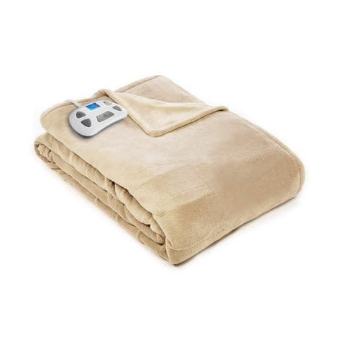 Pure Warmth 874355 Plush Electric Heated Warming Blanket Full Sand