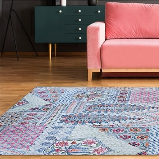 Toulouse Rouen  Blue Sky-Pink Area Rug