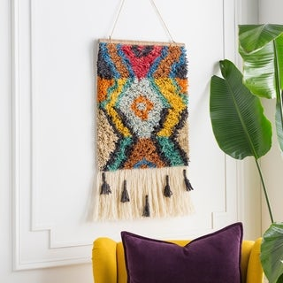 "Aularia Hand Knotted Wool 17"" x 23"" inch Bohemian/Global Tapestry - 17"" x 23"""