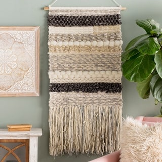 """Astera Hand Woven Wool and Viscose 24"""" x 48"""" inch Bohemian/Global Tapestry - 24"""" x 48"""""""