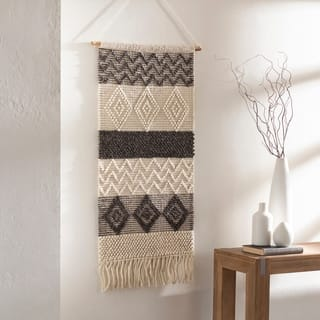 """Hanneke Hand Woven Wool and Cotton 22"""" x 44"""" inch Bohemian/Global Tapestry - 22"""" x 44"""""""
