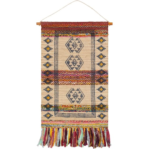"Onai Hand Woven Jute, Cotton and Polyester 29"" x 48"" inch Bohemian/Global Tapestry - 29"" x 48"""