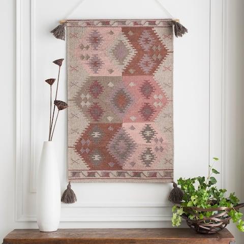 "Naemi Hand Woven Wool 24"" x 36"" inch Bohemian/Global Tapestry - 24"" x 36"""
