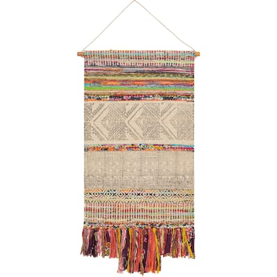 """Shumba Hand Woven Jute, Cotton and Polyester 29"""" x 48"""" inch Bohemian/Global Tapestry - 29"""" x 48"""""""