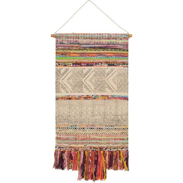 "Shumba Hand Woven Jute, Cotton and Polyester 29"" x 48"" inch Bohemian/Global Tapestry - 29"" x 48"""