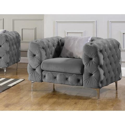 Best Master Furniture Tufted Velvet Upholstered Arm Chair