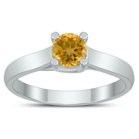 Round 5MM Citrine Cathedral Solitaire Ring in 10K White Gold