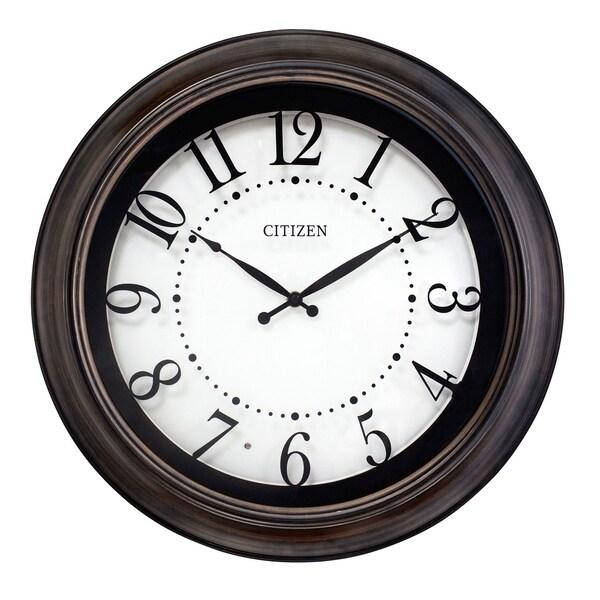 "CITIZEN Indoor/Outdoor 18"" Lighted Dial Wood Wall Clock"