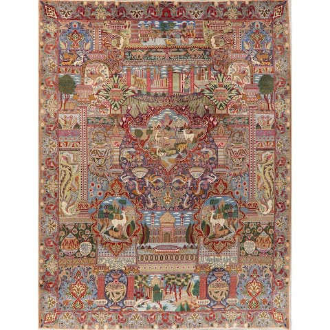 """Kashmar Novelty Hand Knotted Carpet Traditional Wool Persian Area Rug - 12'4"""" X 9'9"""""""