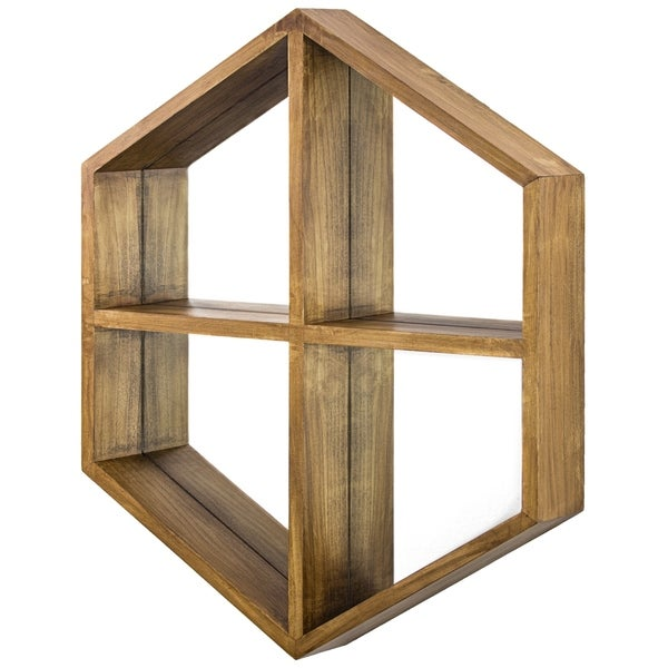 """Hexagon Wood Wall Mirror with Storage Shelves (28"""" x 24"""")"""