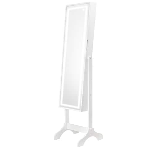 American Art Decor Jewelry Cabinet Armoire with Light Up Touch Screen LED Vanity Mirror, Free Standing (Pink)