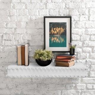 "Rustic Wood Floating Wall Shelf - Whitewashed - 25"" x 9"""