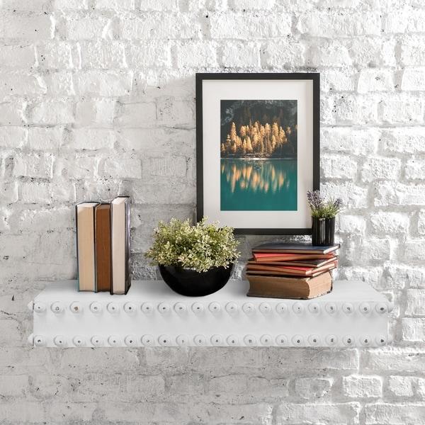 Carbon Loft Shizaki Rustic Wood Whitewashed Floating Wall Shelf