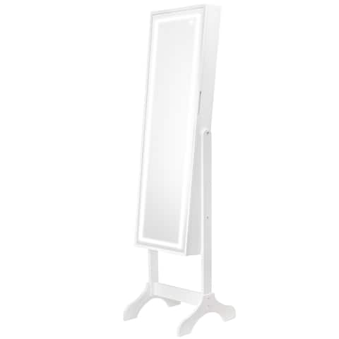 Jewelry Cabinet Armoire with Light Up LED Mirror (Grey)