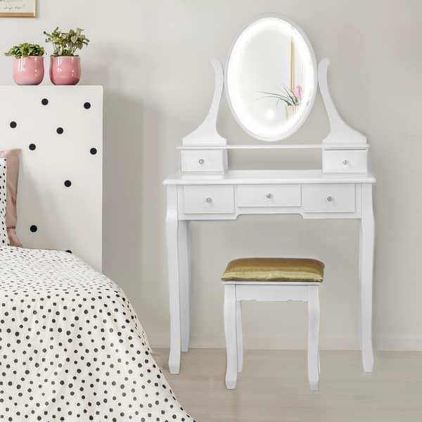 Shop American Art Decor Makeup / Vanity Table Set with Light ...