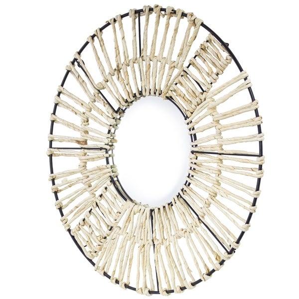 "Metal and Woven Cornstalk Round Wall Mirror (24"")"