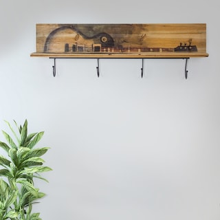 Carbon Loft Zhiev Rustic Wood Wall Shelf with 4 Metal Hooks