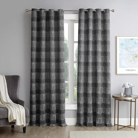 Wild Opaki - Black and White Stripes Jacquard Curtain Panel Set with Grommets