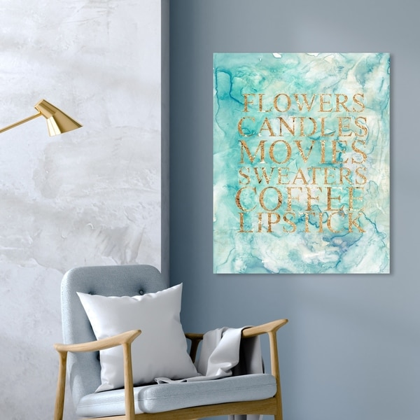 Oliver Gal 'Happy Things' Typography and Quotes Wall Art Canvas Print - Green, Gold