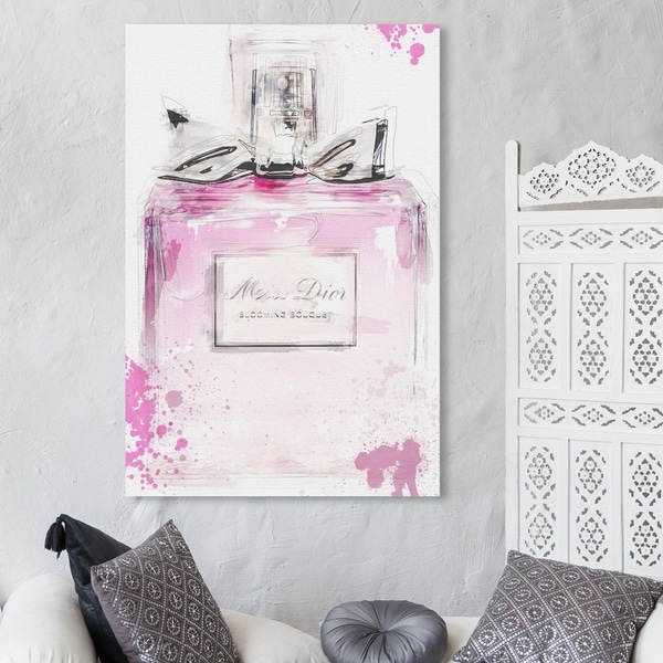 Oliver Gal 'Perfume and Bow' Fashion and Glam Wall Art Canvas Print - Pink, White