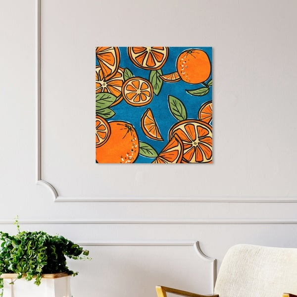 Oliver Gal 'Fresh Squeezed' Food and Cuisine Wall Art Canvas Print - Orange, Blue