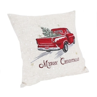 Merry Christmas Truck Embroidered Pillow 14 by 14-Inch