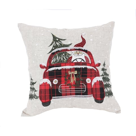 Santa Claus Riding On Car Christmas Pillow 14 by 14-Inch