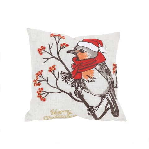 Merry Christmas Bird Crewel Embroidered Pillow 14 by 14-Inch