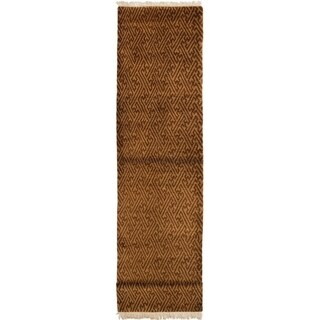 Hand-knotted  Kathmandu Brown Wool Rug  ECARPETGALLERY - 2'7 x 13'9