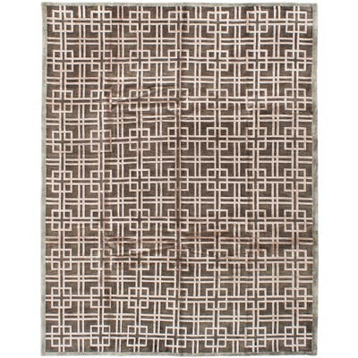 Hand-knotted Silk Touch Khaki Silk, Wool Rug