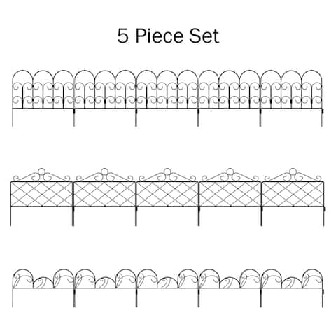 Set of 5 Metal Garden Fencing by Pure Garden