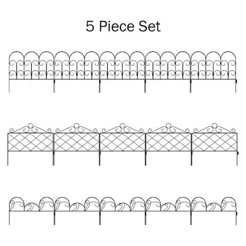 Pure Garden Metal Garden Fencing (Set of 5)