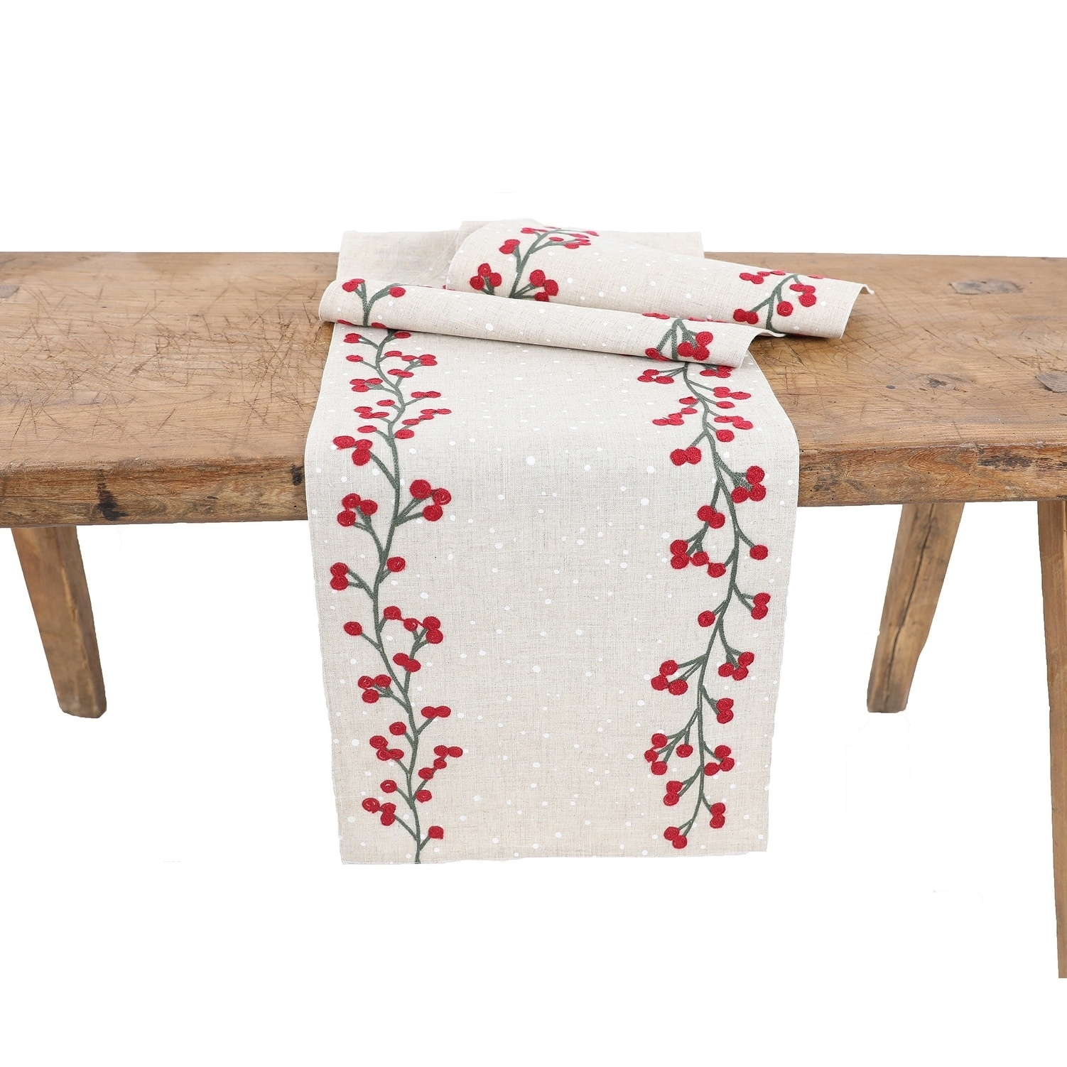 Holly Berry Branch Crewel Embroidered Christmas Table Runner 16 X36 Overstock 29805712 16 X36