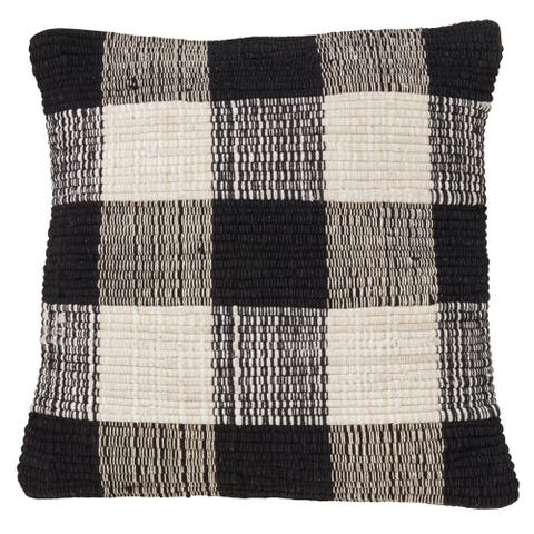 Woven Chindi Buffalo Plaid Throw Pillow