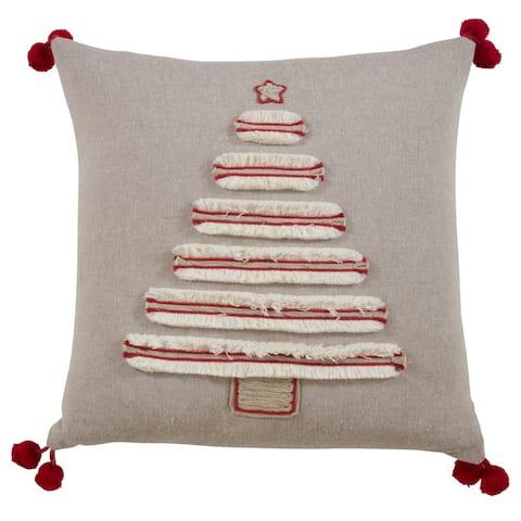 Embroidered Christmas Tree Throw Pillow
