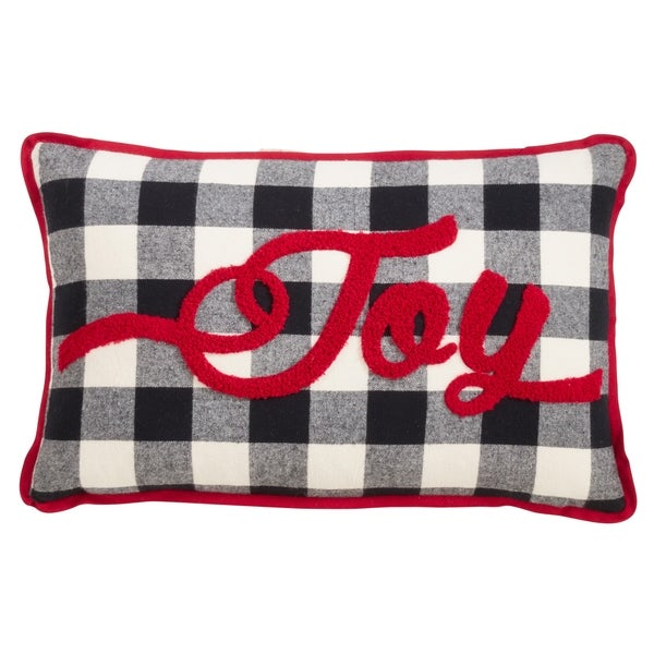 Buffalo Plaid Pillow with Joy Design. Opens flyout.