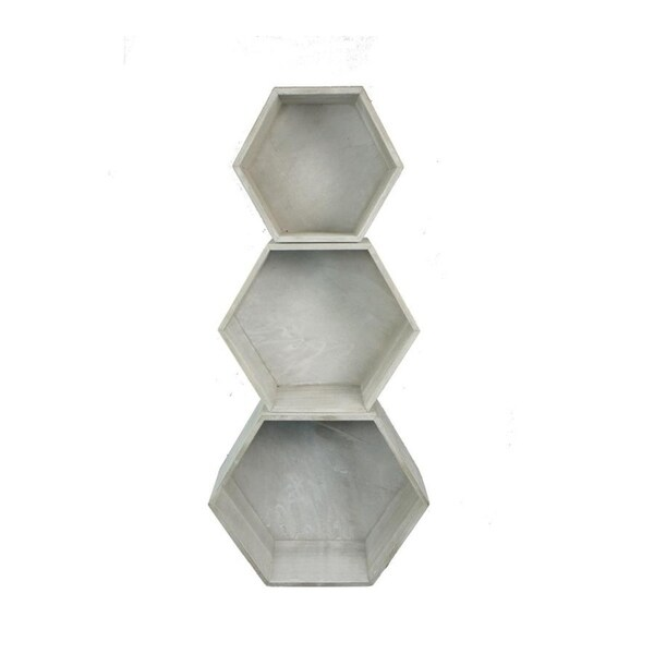 """11.8"""" Grey wash hexagon woodcrate Set of 3. ABN5E100-WHT-GY"""
