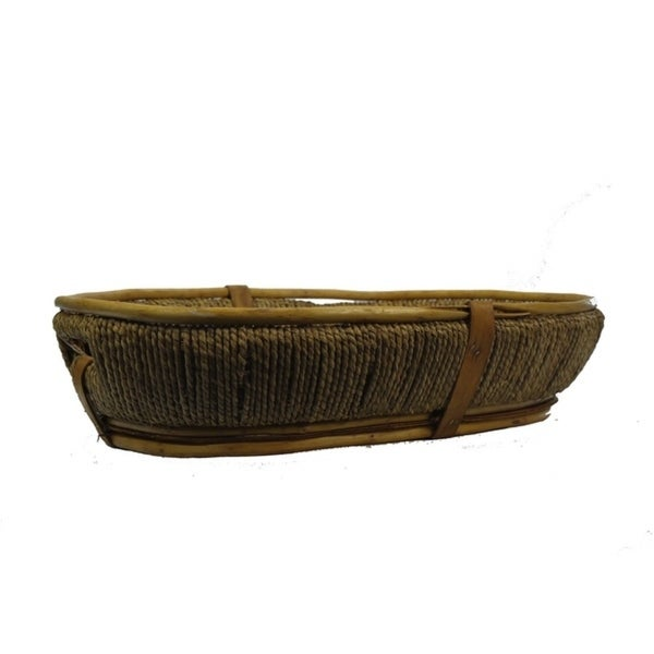 "18"" Honey willow/wood oval tray with rope side adornment. ABN5E105-HNY"