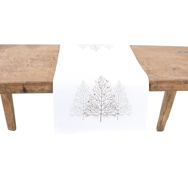 Festive Trees Embroidered Christmas Table Runner 16 by 36-Inch, White. Opens flyout.
