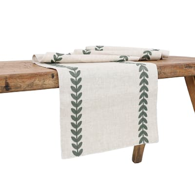 Cute Leaves Crewel Embroidered Table Runner 15 by 70-Inch, Pine Green