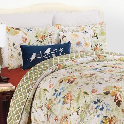 Watercolor Floral Cotton Quilt Set