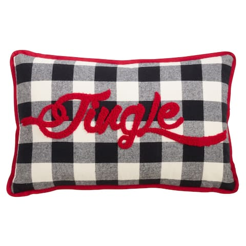 Buffalo Plaid Pillow with Jingle Design