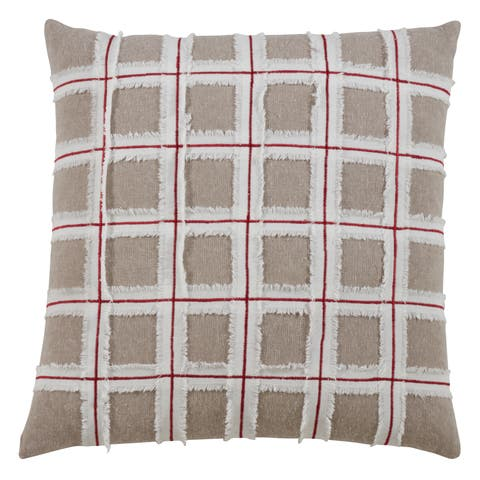 Frayed Window Pane Design Throw Pillow
