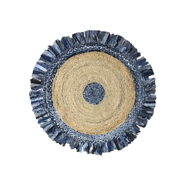 Denim Jute Braid Round shape Area Rug Available in Multiple Size and Colors